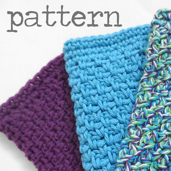 Crochet Patterns For Beginners Dishcloths : Crochet PATTERN Simple Cotton Dishcloth with by ...