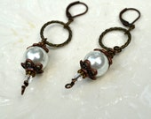 REDUCED Rustic Bridal Earrings- Country Wedding- Pearl Antique Brass- Necklace Earrings- Rustic Wedding - Crystal