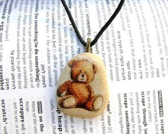 Teddy bear necklace teddy bear pendant teddy bear jewelry children jewelry teen jewel decorated rock decorated stone jewelry unique stone