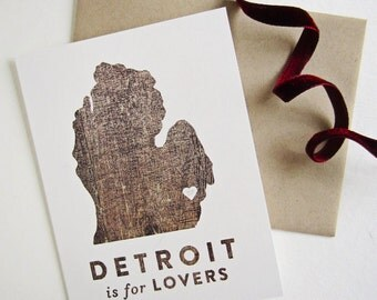 Detroit is for Lovers • Single Card & Envelope • Blank Inside