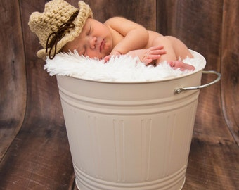 Crochet Newborn Baby Hat Cowboy Hat Photo Prop