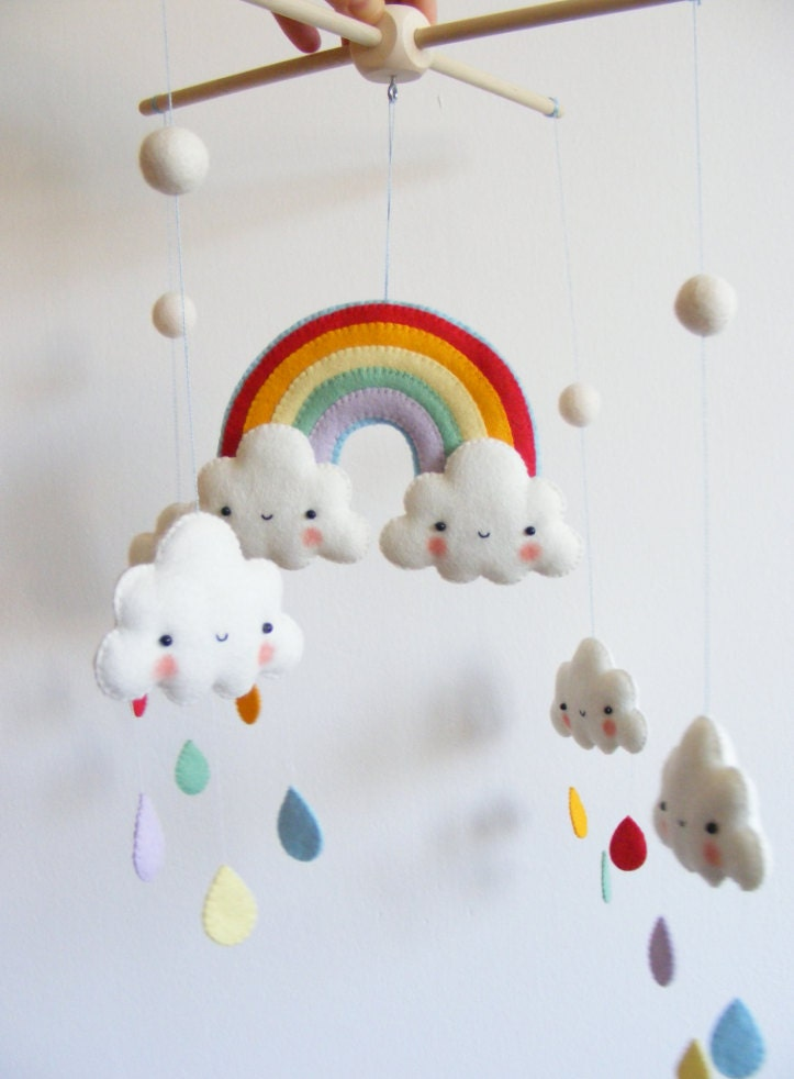 pdf pattern rainbow and clouds baby crib mobile felt. Black Bedroom Furniture Sets. Home Design Ideas