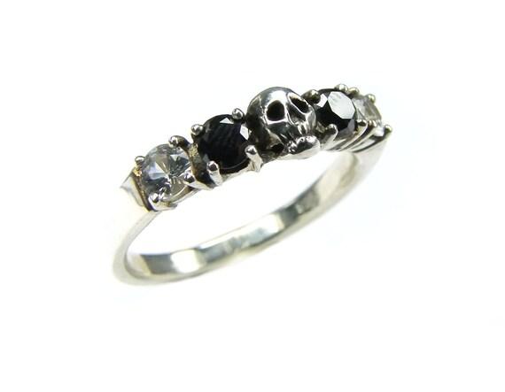 White Gold Skull Wedding Set Ring Black by KipkalinkaJewels