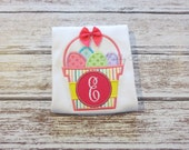 Girls Monogrammed Easter Basket with Eggs Appliqued Shirt - Embroidered Shirt, Personalized, Monogram, Easter, Easter Basket, Eggs