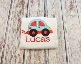 Boys Love Bug Appliqued Shirt - Embroidered Shirt, Boys, Personalized, Monogram, Valentines Day, Boys Car Shirt, Toddler, Baby