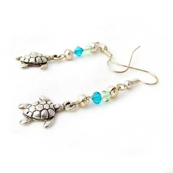 Turtle Earrings, Green Crystal Turtle Earrings, Silver Turtle Charm Earrings, Turtle Charm Earrings