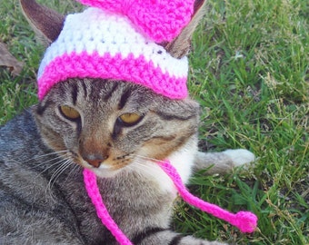 Big Bow Hat for Cats, Cat Hat, Dog Hat, Hat for Dogs, Cat Clothing, Cat Clothes - Bonnet for Cats and Dogs - Custom Cat Hat with Bow
