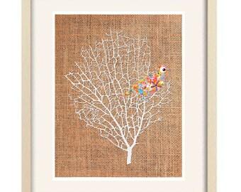 bird print, abstract art, nursery art, nursery decor, baby girl nursery, bird nursery decor, bird decor, baby nursery decor bird art hessian