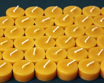 Beeswax Candles - 100% Pure Beeswax Tealight Refills -- 24 Pack Refills without the Cups! -- Free Shipping