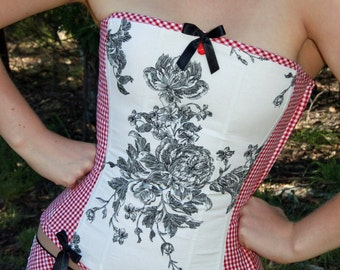 Gingham and Toile corset size Medium.