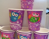 Set of 10 owl themed paper cups - birthday party supplies - purple owl birthday decorations - owl themed cups - purple owl party cups