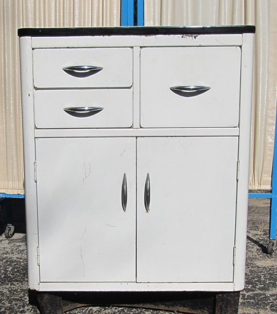 Reserved Metal Kitchen Cabinet with Enamel Top Mid Century