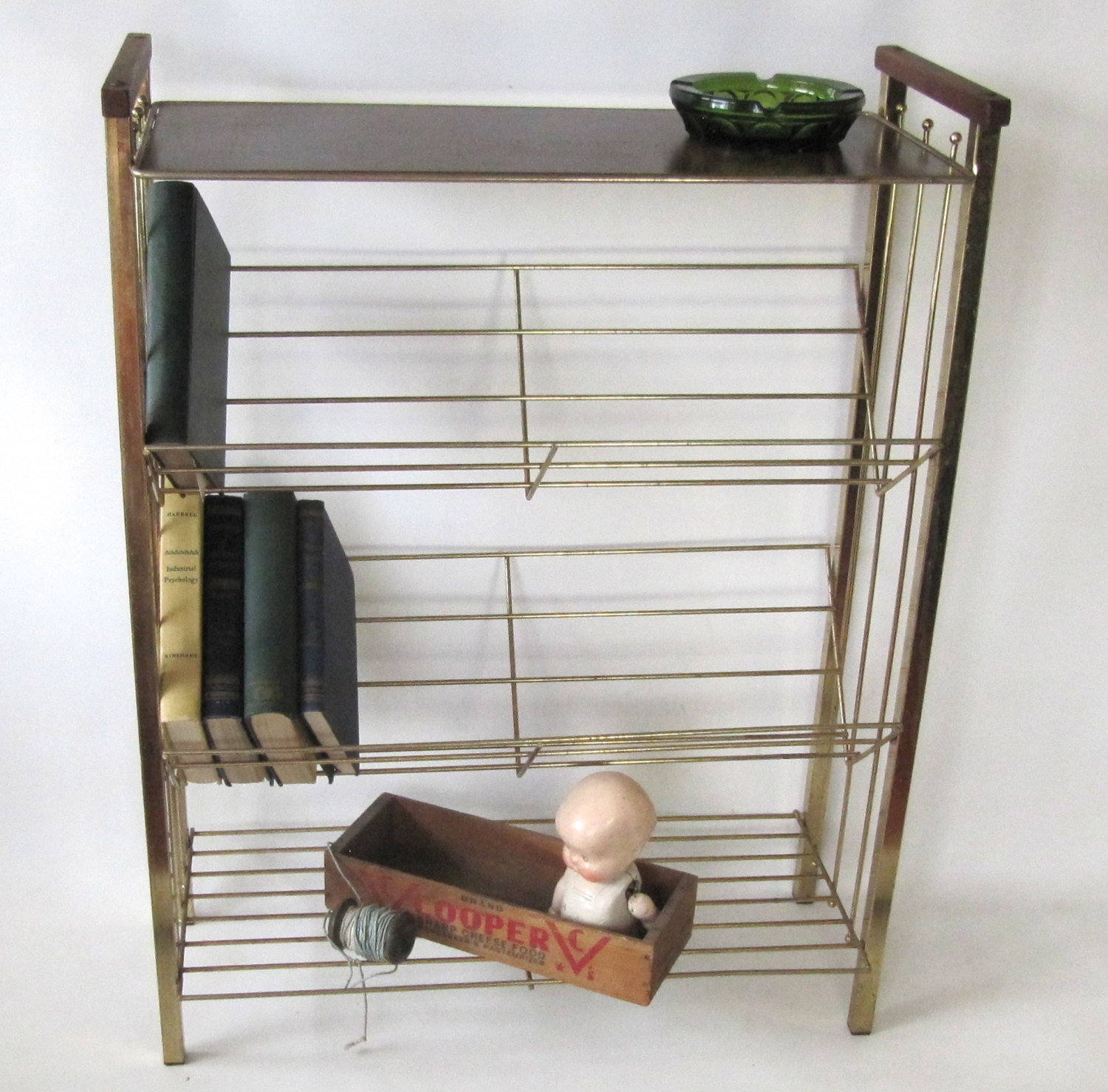 Reserved Haley Mid Century Wire Shelf Book By Oldgoatandhorse