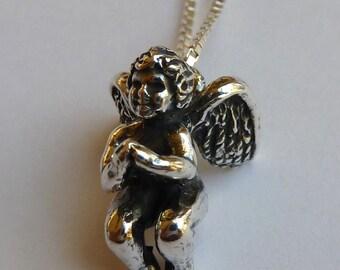 Sterling Silver Angel Cherub Necklace