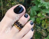 Stacking Toe Ring - Black - Orange Gold - Stretch Bead Toe Ring