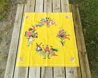 Vintage Square Danish Cotton Printed, Table Cloth / Scandinavian Decor / Danish Design / Nordic / Yellow / Denmark / European / Home Decor