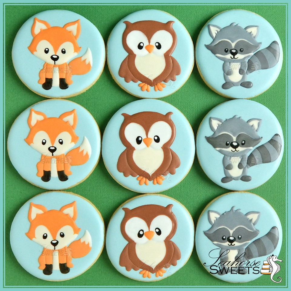 Woodland Animal Cookies Fox Owl and Raccoon quantity: 12 Raccoon Face