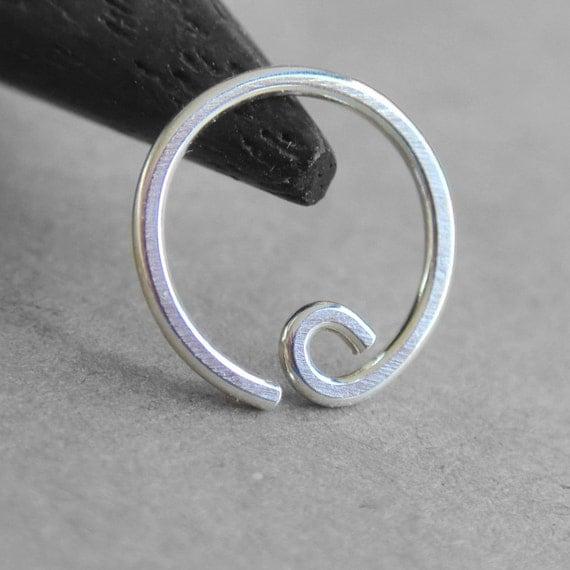 20g sterling silver hoop earring minimal by caterpillararts