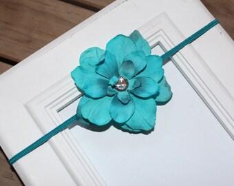 Teal/Aqua Hydrangea Flower Headband