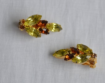 Brown and Yellow Rhinestone Clip on Earrings