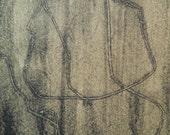 """Monoprint """"Maps"""" 4x6 - Hand-Pulled Contemporary Print"""