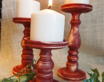 Primitive Red Pillar Candle Holder Set of 3 - Lathe turned - Made in USA