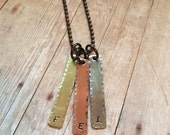 Initial Tag Necklace in Tri-Tone Metals, Pendant for Mothers and Grandmothers