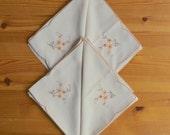 Vintage Embroidered Napkin Set, Linen, Floral Motif, Hankerchiefs