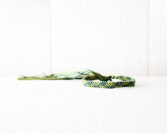 Friendship Bracelet Green Asymmetrical Chevron Embroidery Thread Bracelet / Stocking Stuffer
