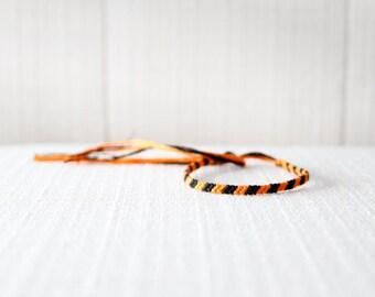 Friendship Bracelet Orange and Black Embroidery Threads Halloween Fall Autumn Bracelet Stocking Stuffer