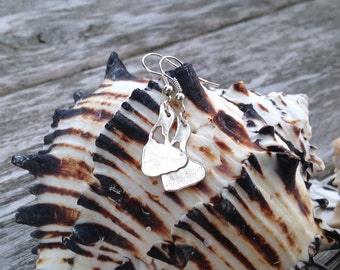 Block island earrings, fine silver dangle earrings, metal clay earrings, recycled fine silver earrings