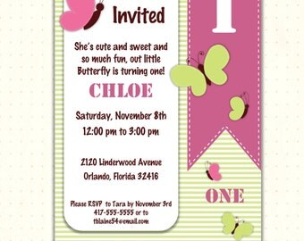 Children's Birthday Party Invitations, kids, girl, butterfly, 1st, 2nd, 3rd, 4th, 5th, green, pink, digital, printable, invite G1410