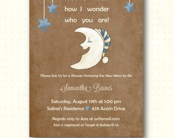 Baby Shower Invitation, twinkle twinkle little star, moon, stars, suede, brown, invite, country chic, vintage, digital, printable, B1448