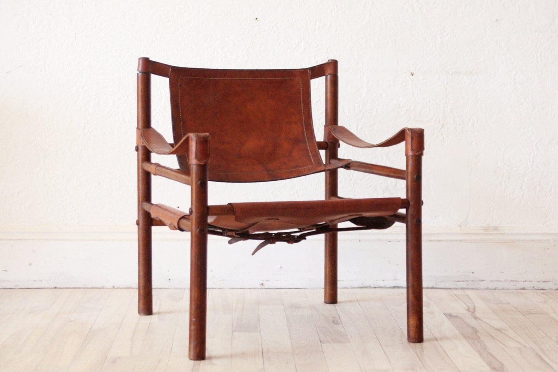 Arne Norell Safari Chair Leather Beechwood