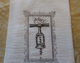 Wine Corkscrew Kitchen Towel