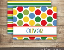 Personalized Children's Stationery / Stripes & Polka Dots Note Cards / Primary Colors Thank You Notes / Kid's Stationery, Printable