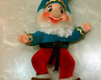 Vintage Retro Mid Century Modern Turquoise & Red Kitschy Flocked Elf Ornament Dwarf Disney-esque