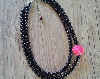 Black necklace- Black necklace with rose cabochon,Black and hot pink,Black pearl necklace - Fuchsia and black wedding - Flower necklace