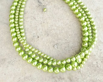 Bright green pearl necklace,Green necklace,Lime bridesmaid necklace,Multistrand green necklace,Chartreuse wedding,Chartreuse necklace