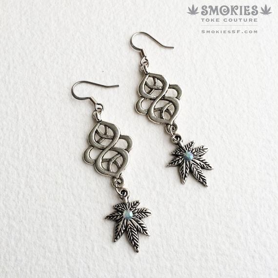 marijuana earrings celtic knot marijuana by smokiestokecouture