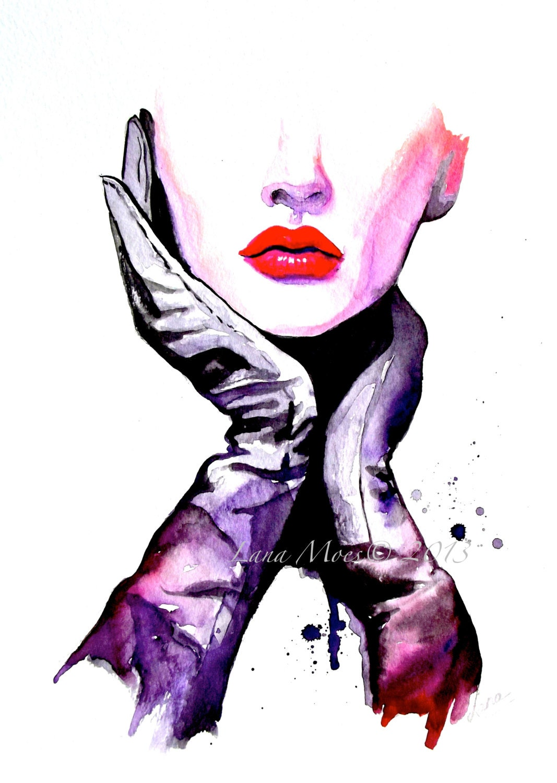 Fashion Watercolor Art Print Fashion Illustration by LanasArt