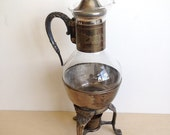 Vintage Silver Plated and Glass Coffee Tea Carafe Decanter with a Candle Warmer
