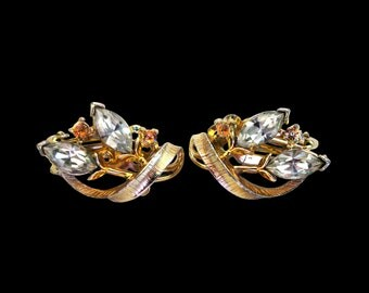 Vintage Lisner Rhinestone and Gold Earrings