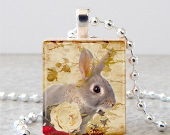 Bunny Scrabble Necklace, Bunny Scrabble Tile Pendant, Rabbit Scrabble Necklace, Brown Bunny Pendant, Brown Bunny Necklace, Rabbit Jewelry