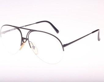 Porsche Carrera matte black 5627 aviator half rimmed sunglasses / eyeglasses frames, NOS 1980s