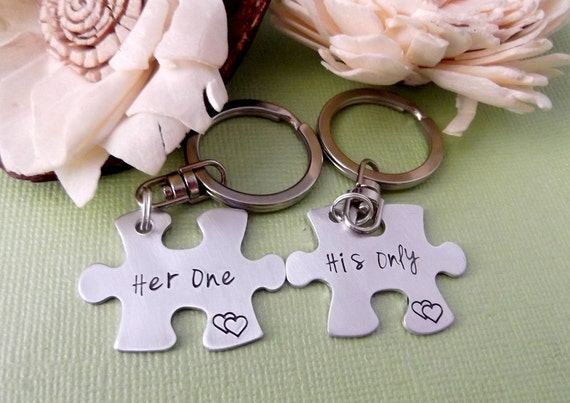 Puzzle Piece Key Chains- Relationship Key Chains- His One- Her Only Key Chains- Anniversary Key Chains- Long Distance Relationship