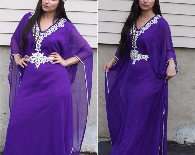 "Yara Yosif ""Laila"" - purple kaftan with silver beading eid adha henna abaya caftan dress"
