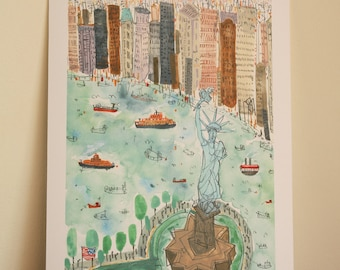STATUE OF LIBERTY New York Print, Signed Giclee, New York Watercolor Painting, East River Ferry, Nyc City Skyline