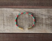 Christmas Camo Bullet Casing Bracelet recycled .22lr casings green red white paracord wire BRZN