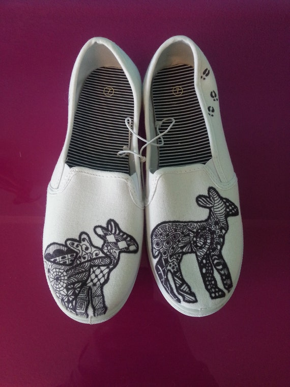 items similar to funky deer hand drawn womens canvas flats